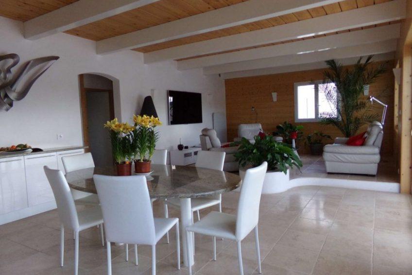 grand espace salon cuisine maison du coucouru - villa piscine à louer pour les vacances à Vallon Pont d