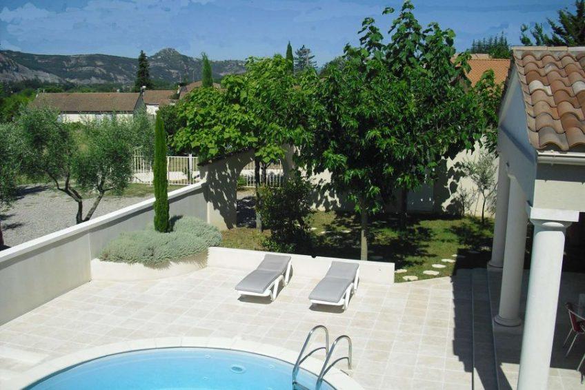 vue sur piscine maison du coucouru - villa piscine à louer pour les vacances à Vallon Pont d