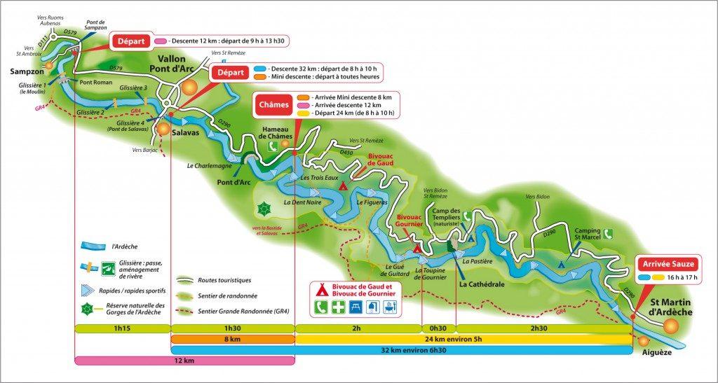 La Vernède - carte des descentes des gorges de l'Ardèche en canoe kayak