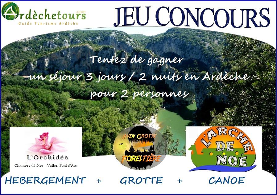 jeu concours séjour 3 jours / 2 nuits pour 2 personnes en Ardèche
