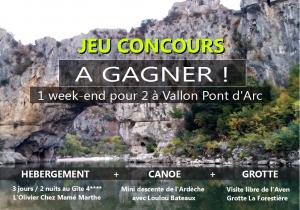 Gagnez 1 séjour 3 jours/2 nuits pour 2 personnes à Vallon Pont d'Arc
