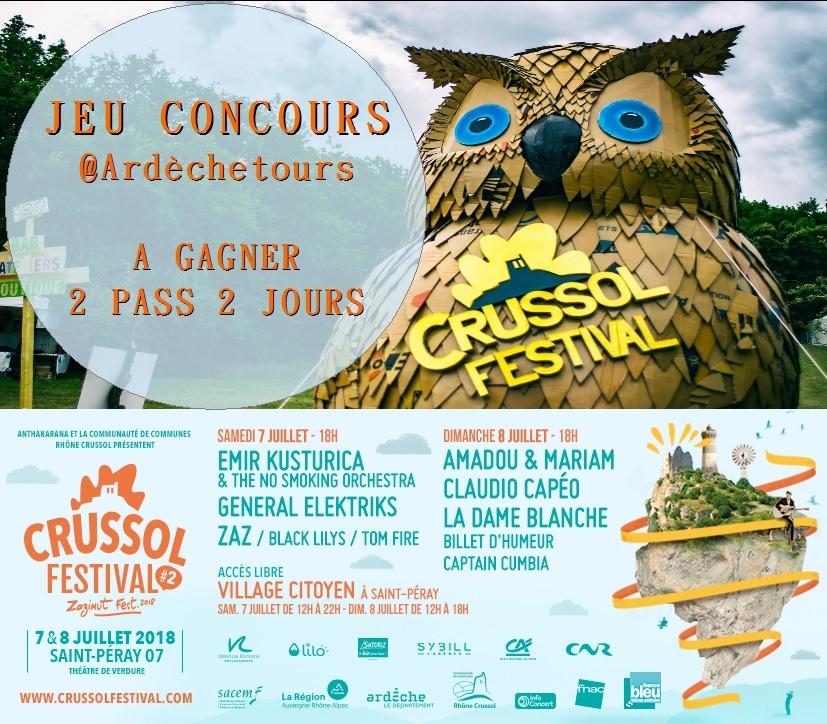 gagnez vos PASS 2 jours - concours Crussol Festival - Ardèchetours