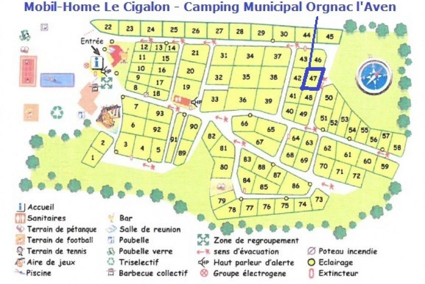carte emplacement mobil-home le cigalon camping orgnac l
