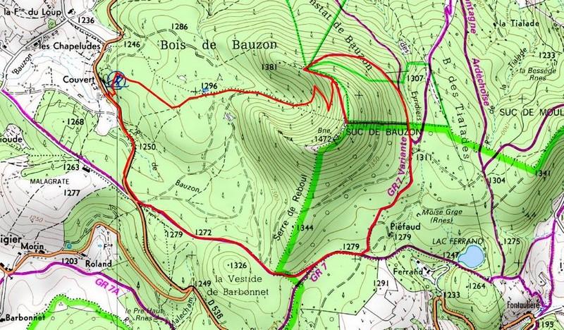 Ardèche randonnée Carte itinéraire Suc de Bauzon