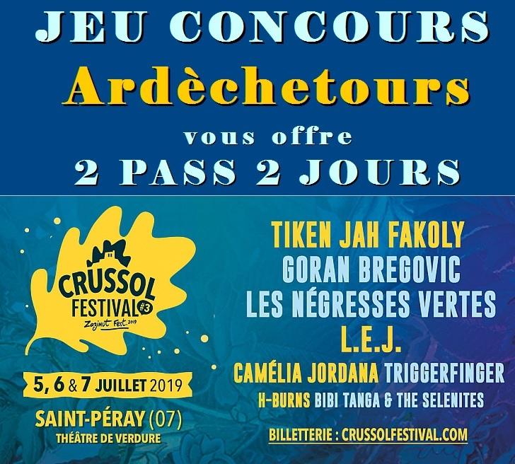 PASS 2 jours à gagner pour le Crussol Festival 2019