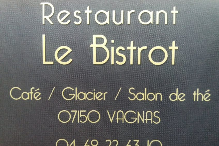 Restaurant Le Bistrot Vagnas sud Ardèche carte visite